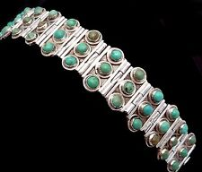 Vintage 1930s Taxco Mexico Mexican Sterling Silver Turquoise Bracelet 22903
