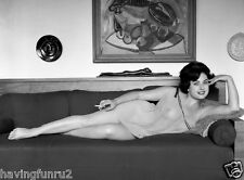 1960s Pinup June Palmer in sheer nighty on couch 8 x 10 Photograph