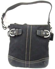 Authentic Coach Shoulder Bag Black Jacquard&Leather Shoulder Purse Bag J05M-3577