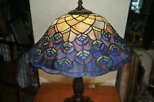 """TIFFANY-STYLE BLUE & GREEN STAINED GLASS PEACOCK FEATHER 22"""" TABLE LAMP"""