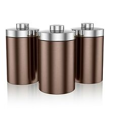 Swan Townhouse Set of 3 Tea Coffee Sugar Canisters Storage Container Copper New