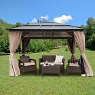 Resort 10 x 12 Polycarbonate Roof Patio Gazebo Aluminum Poles w/ Panel