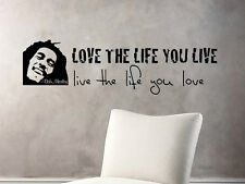 BOB MARLEY LIFE LOVE Wall Art / Vinyl Decal Sticker QUOTES & PHRASES REMOVABLE