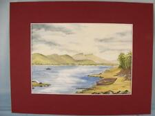 Original Watercolour Painting in card mount 'Mountain Lakeside' unframed picture