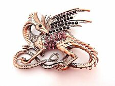 COPPER/SILVER DRAGON BROOCH rhinestone pin fantasy Game of Thrones Targaryen M3