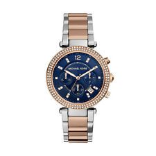 **NEW* LADIES MICHAEL KORS  BLUE CRYSTAL PARKER TWO-TONE WATCH MK6141 -RRP £259
