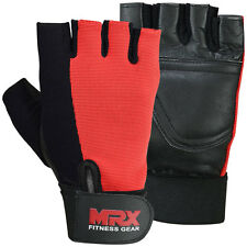 Leather MRX Weight Lifting Gloves Gym Fitness Training Glove, Black/Red, XL