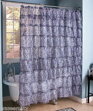 Zebra Animal Print Gypsy Ruffled Tier Chic Layered Bath Shower Curtain Decor
