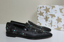 New sz 8.5 / 39 Valentino Black Leather Star Studded Loafer Flat Slip on Shoes