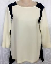 Rag And Bone Blouse Ivory And Black Silk Long Sleeve Size Small