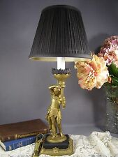 Vintage Art Deco Egyptian Revival Gold Gilt Figural Table Lamp