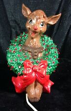 Vintage Ceramic Rudolph Red Nose Reindeer Lighted Wreath Around Neck Christmas