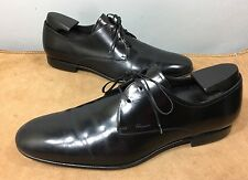 Salvatore Ferragamo Leather Black Derby Oxford Dress Shoes 10 D Made In Italy