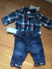 Gymboree Baby Boy 0-3m Outfit Plaid Shirt &adenine Jeans NWT Free Shipping