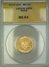 1922-B Switzerland 20 FR Francs Gold Coin ANACS MS-64