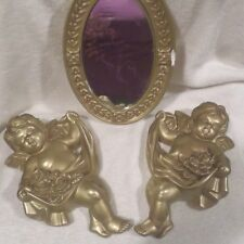VINTAGE ANTIQUE PLASTER CHALK GOLD CHERUBS WITH ROSES WALL HANGING WITH MIRROR