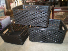 3 shallow water marginal plant baskets.Ideal for plants on edge of ponds