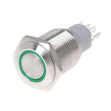 LED Indicator 16mm 12V Flat Head Latching Stainless Push Button Switch-GREEN