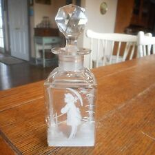 Antique Mary Gregory Cut Glass Perfume Bottle Jar-WOMAN w/ UMBRELLA-Org. Stopper