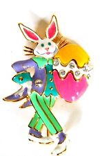 VINTAGE 1980'S EASTER BUNNY ENAMELED BROOCH BY BOB MACKIE, HOLLYWOOD