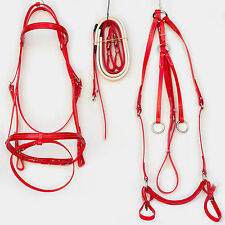 Full Size Hanovarian Bridle, Reins and Breastplate Set - RED