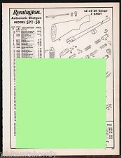 1993 REMINGTON Model SPT-58 Automatic Shotgun  Parts List AD