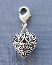 Dangle Heart Clip On Charm w/Lobster Clasp Fit for Link Chain, locket C207