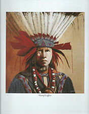 """J.D.Challenger """"Many Eagles""""--  Western Art Print of a Native American"""