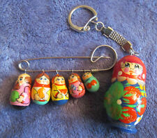 Vintage Russian NESTING DOLLS MATRYOSHKAS CHARM SAFETY PIN BROOCH / KEYCHAIN LOT
