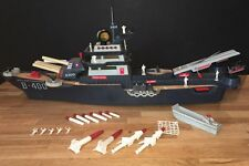"""1963 DELUXE-READING B-400 BATTLEWAGON 34"""" SUPERSHIP wMARINES, ROCKETS & MORE!"""