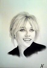 Scarlett Johansson - ritratto portrait grafite e carboncino cm. 33 x 48