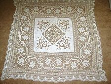 """Gorgeous Vintage 46"""" Square Linen Tablecloth with Crochet Ebroidery & Cutwork"""