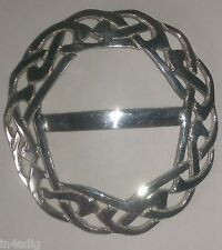 Celtic Round Interlace Knot Work Plaid Pewter Scarf Ring SR901
