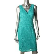 $179 LAUREN RALPH LAUREN Summer Turquoise Lace Sleeveless Cocktail Dress Sz 12