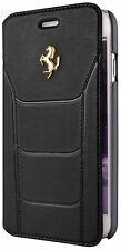 Genuine Ferrari 488 Black Book Type Case Gold Logo For iPhone 7 Plus Leather