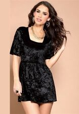 Ladies Deep Black or Navy Blue Party Crushed Velvet Tunic Short Dress Top New