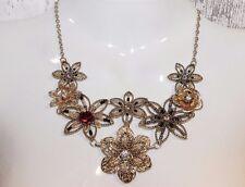 Kette kurz Halskette NEU Collier gold Blüten Blumen elegant Party Strass rose