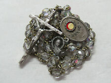 † VINTAGE SAINT PEREGRINE RELIC CLOTH MEDAL PATRON CANCER & AB GLASS ROSARY †