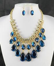 CHUNKY GOLD TONE DIAMANTE CRYSTAL BLUE TEAR DROP STATEMENT NECKLACE EARRING SET