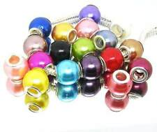 100 mix Acryl Imitate pearl european beads Fit charm Bracelet ((((US SELLER))))