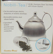 NOBILI-TEA 1.0 Qt. STAINLESS STEEL TEA KETTLE WITH INFUSER BASKET NEW AUTHENTIC