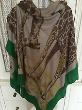 "Rare Hermes ""Les Girafes"" Cashmere and Silk Shawl 140cm Scarf Foulard Tuch Carre"