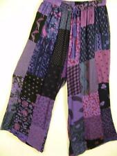 915P~TIENDA HO~Purple~HOBO BOHO CROP PANTS~Mixed Rayon Patchwork~CLAM DIGGERS~OS