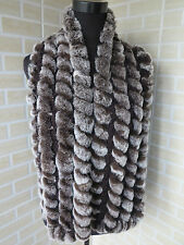 New real rex rabbit fur scarf /braid cape/ shawl / collar soft and warm brown