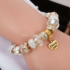 Elegant Gold Plated Rhinestone Crystal European Charm Beads Bracelet Lady Bangle