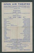Open Air Theatre, Queen Mary's Gardens, Regents Park Flyer  u.36