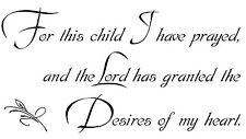 FOR THIS CHILD 1 SAMUEL 1:27 Vinyl Wall Art Decal Decor Lettering Words Quote