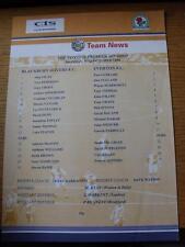05/10/1998 Blackburn Rovers Reserves v Everton Reserves  (Single Sheet)