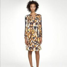 TORY BURCH Meyer Silk Dress in Tan Matmi Ikat Print US 4 | UK 8