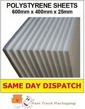 5 x STRONG EXCELLENT QUALITY POLYSTYRENE EPS FOAM PACKING SHEETS 600x400x25mm